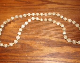 vintage necklace beige silk beads