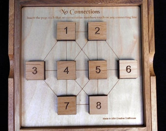 No Connection wood brain teaser puzzle - unique design from Martin Gardner book- looks easy but NOT