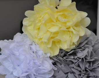 12- Baby shower Poms {Yellow & Gray} 5 eyelet lanterns