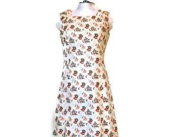 1960s Shift Dress Short Dress Summer Dress Sleeveless Beige with Orange and Khaki Floral Print Vintage 60s