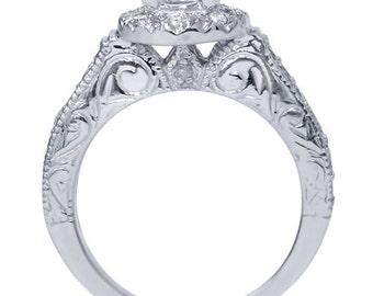 1/3Ct Vintage Engagement Ring Setting 14K White Gold