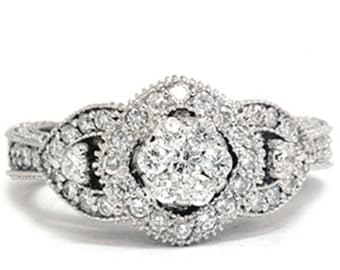 Diamond .79CT Pave Cluster Ring 14K Gold