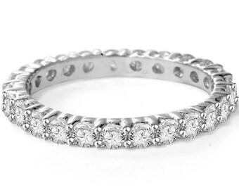 1.00CT SI1 Diamond Eternity Ring Prong 14K White Gold Wedding Anniversary Band