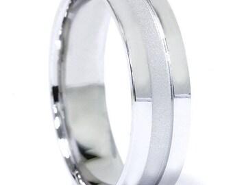 Mens Hand Brushed 6MM Flat Wedding Band 10K White Gold
