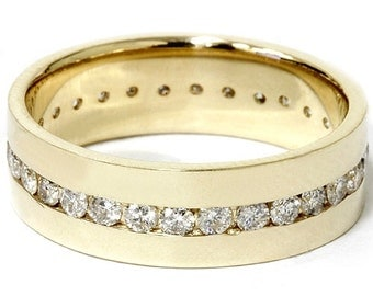 1.25CT Mens Diamond Channel Set Eternity Ring 14K Yellow Gold