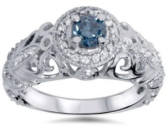 Blue Diamond Engagement Ring .70CT Vintage Antique Engagement Ring Filigree Art Deco Milgrain 14K White Gold Size 4-9 Filigree Blue Diamond
