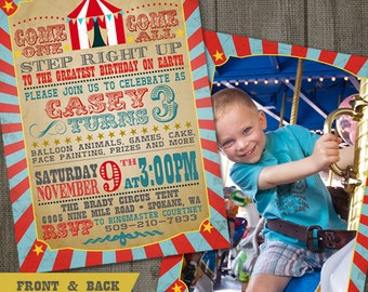 Carnival Circus Birthday 2-sided Photo PRINTABLE Party Invitation