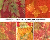 PAINTED Autumn Leaves - 5 Digital 12x12 Gelli Print Backgrounds - INSTANT DOWNLOAD - for Scrapbooking, Decoupage, Collage, Journaling, Cards