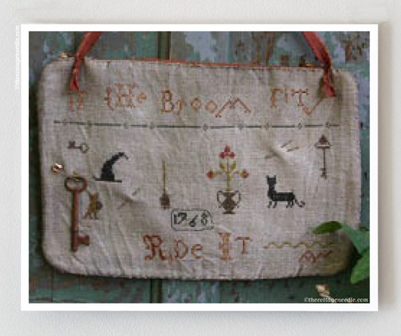 cross stitch patterns : If The Broom Fits Ride It Hanging Pinkeep Stacy Nash Primitives Halloween counted hand embroidery The Cottage Needle