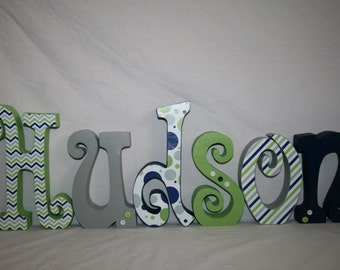 Hanging nursery letters Wall hanging letters Baby nursery 15.00 per letter Baby name letters Wood wall letters Nursery decor Navy and green