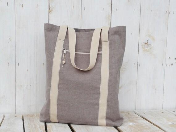Natural linen tote bag shoulderbag messenger bag everyday bag beige strap