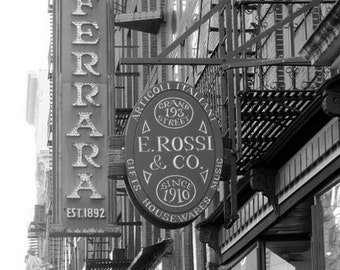 New York Photography, Black & White Print or Color, Italian Bakery, Little Italy Cafe, Coffee, Espresso, Large Wall Art, Street Photo, FPOE