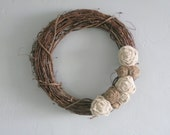 "Grapevine Wreath - 18"" - White & Natural Burlap Flowers"