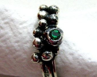 Wedding Jewelry - Engagement Ring -  Oxidizes Silver Dewdrops Ring with Lab Emerald - Handmade  Jewelry