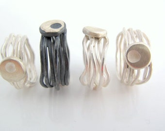 Sterling silver ring HOPE, Unique, modern, organic, raw, contemporary, cool, art, handmade, gift for her