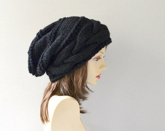 Knit hat womens hat black hat slouchy hat  winter hat womens winter hat gift for her gift women