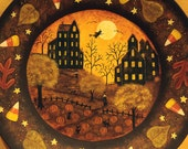 Halloween Folk Art  Hand Painted Plate, OOAK Charger -Original Art - Spooky Houses, Witches, Pumpkin Patch, Full Moon, Candy Corn,