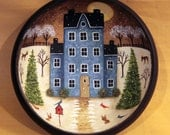 Folk Art Painting Primitive Wood Bowl - MADE TO ORDER - Winter Scene with Saltbox House, Cardinals, Blue Jays, Deer, Bunnies in Snow