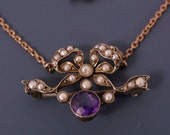 9Kt GOLD necklace brooch / amethyst seed pearl / antique victorian  / hallmarked   No.001966 hs