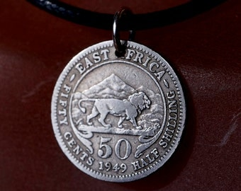 silver Coin -  EAST AFRICA Necklace - Africa COIN  necklace -  lion  charm - safari  - coin jewelry No.00735