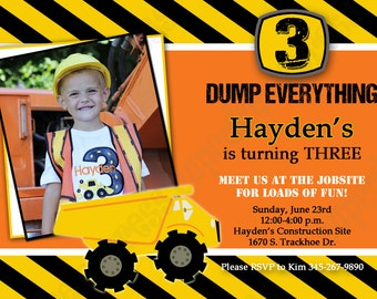 DIY Construction Zone Birthday Party  PRINTABLE Photo Invitation 5x7 4x6  dump truck tools cupcake express