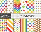 Rainbow Digital Paper, Candy Stripe Digital Papers, Digital Scrapbooking Paper, Decoupage Paper, Instant Download, Commercial Use, Chevrons