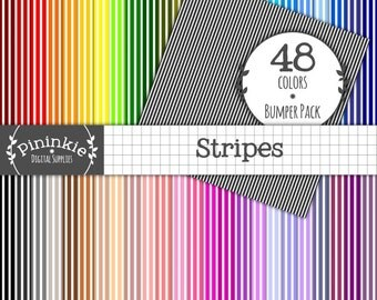 Striped Digital Paper - INSTANT DOWNLOAD - 48 Basic Scrapbooking Papers - 12x12 - Commercial Use (CU) - Printable, Scrapbooking, Card Making