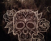 Holiday Gift, Dia De Los Muertos Table Runner, Free shipping