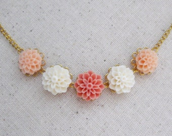 Romantic floral necklace - white, peach, salmon mums on gold tone filigree & chain