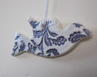 Dark Purple and White Earthenware Flying Dove Ornament
