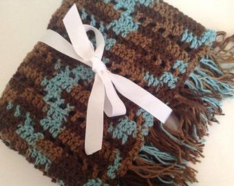 Baby blanket crochet brown and blue blanket