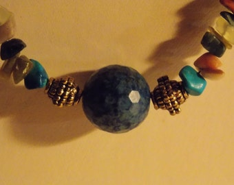 Faceted Lapis Focal Bead Strung on Turquoise & Mixed Gemstone