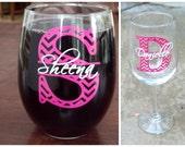 Chevron monogram bridesmaid glass, Stemless Wine glass with monogram and name.  Christmas gift idea, Bridesmaid gift idea, Maid of Honor