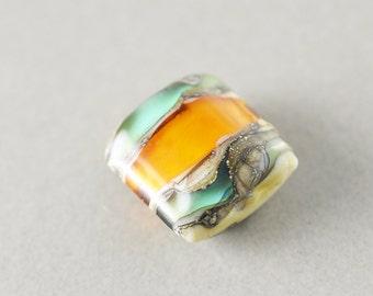 Lampwork Bead, Green Yellow Square Bead, Glass Bead, One