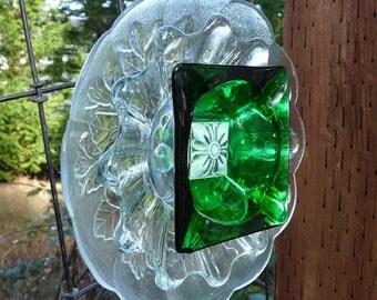 Glass garden art, glass flower, suncatcher, yard art, garden sculpture,fence decor, wall decor, green
