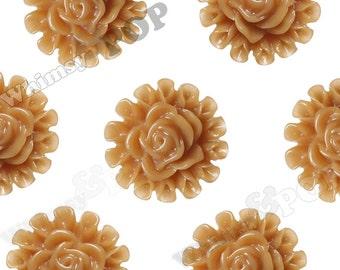 Caramel Brown Flower Cabochons, Flower Flatbacks, Flower Shaped, 13.5mm (R5-127)