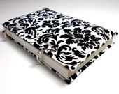 Black and White Damask Sketchbook Journal Diary Notebook Upcycled Fabric