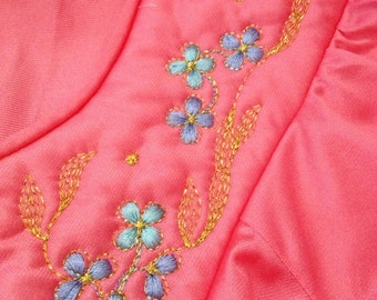 Pretty Pink Vintage Vanity Fair Two Piece Pajama Lounge Outfit Size Small / Tall
