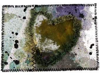 ACEO Art Card - Painted Canvas Mixed Media Heart