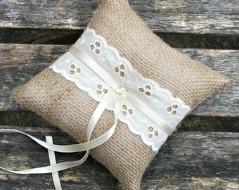 Wedding Ring Cushion Burlap Rustic Ring Pillow with  Broderie Anglaise Ecru Cotton Lace small 5x5 inches