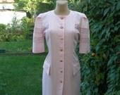 Pretty Pencil Dress Vintage / Pink / Size EUR38 / UK10 / with Lace