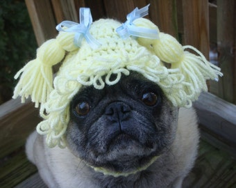 Cabbage Patch Baby Face Dog Hat  /  Just Delivered By The Stork / Made To Order