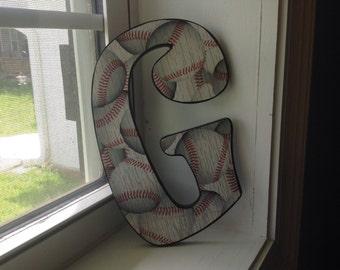 """Baseball print """"G"""" wooden letter/kids room decor"""