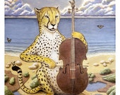 """Cheetah on Cello print 8"""" x 10"""""""