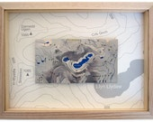 Snowdon / Yr Wyddfa contoured stainless steel map : framed in a natural ash frame