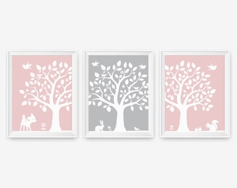 Kids Wall Art - Woodland Nursery Tree Wall Decor Art - Deer, Bunny, Bird, Squirrel - Custom Color - Set of 3, Nursery Art, Children Decor