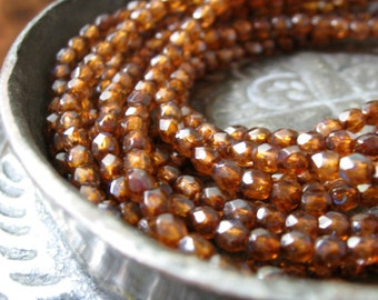 Czech Glass Beads MIlky Amber with Picasso Faceted Fire Polished Beads 3mm 50 pieces