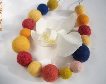 Yellow Orage Red And Blue Felt Beads Necklace OOAK