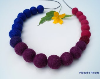 Felt Beads Necklace - Blue Pink Purple Maroon Felt Beads Necklace OOAK - Eco-friendly