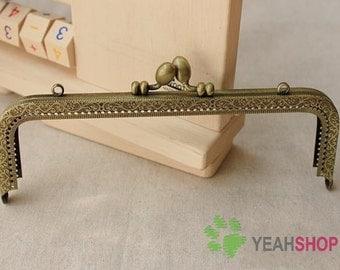 Antique Brass Embossed Purse Frame - Rectangle Tulip - 18cm / 7.1 inch (RPF-40)